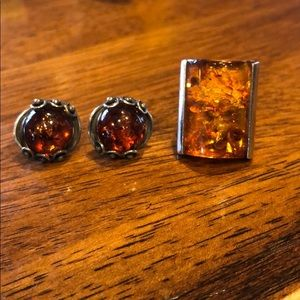 Jewelry - Sterling silver Amber ring and earrings